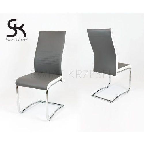 Sk design  ks020 szare krzesło z ekoskóry na chromowanym stelażu - szary ||biały