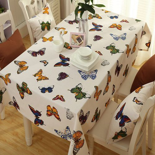 Butterfly print polyester fabric kitchen rectangle table linen marki Rosewholesale