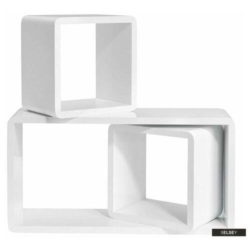 zestaw trzech półek kaliopsi białe kwadraty i prostokąt o zaokrąglonych rogach marki Selsey