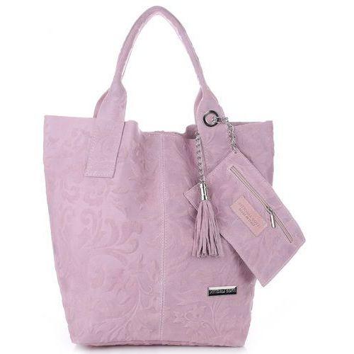 VITTORIA GOTTI Made in Italy Torebka Skórzana Shopperbag w Tłoczone Wzory Pudrowy Róż (kolory)