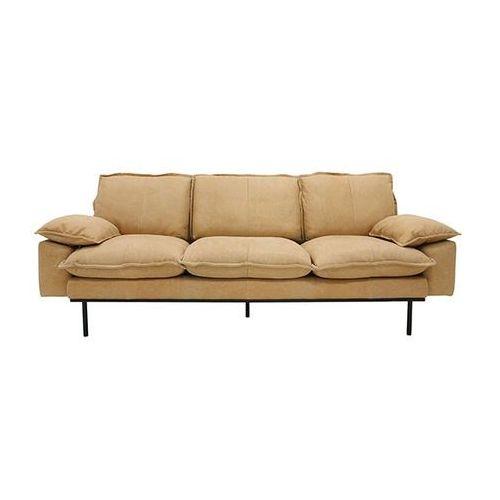 Hk living sofa retro 3-osobowa skórzana w kolorze naturalnym mzm4681