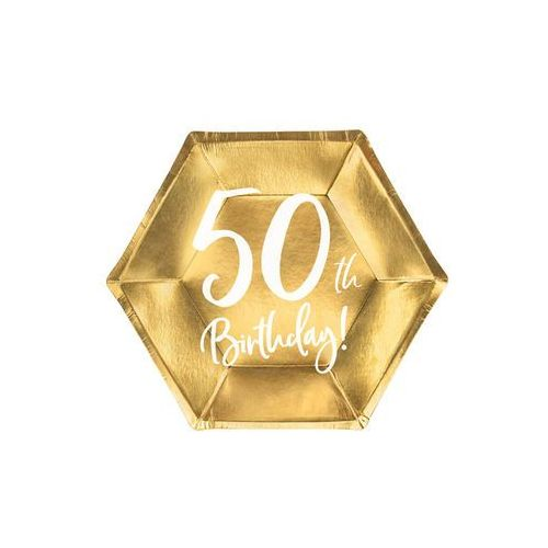 Talerzyki na pięćdziesiąte urodziny złote - 20 cm - 6 szt. (5900779118591)