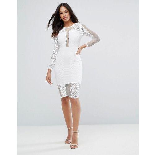 cream long sleeve lace midi dress - cream, Ax paris