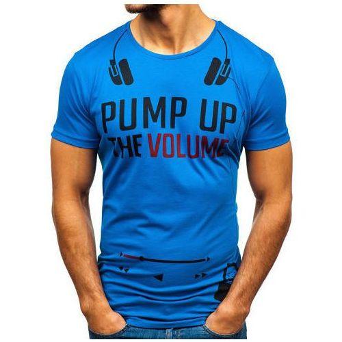 Bolf T-shirt męski z nadrukiem niebieski 1171
