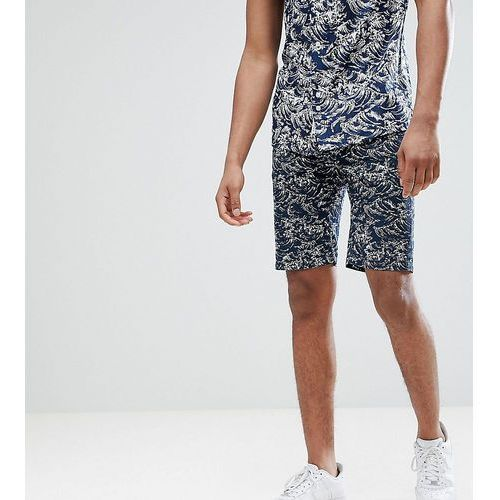 Bellfield Chino Short With Wave Print - Navy