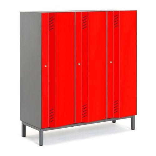 Szafa ubraniowa CREATE ENERGY, na nóżkach, 3 moduły, 1985x1200x500 mm, czerwony, 562331