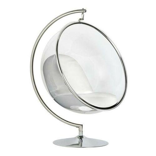 Fotel BUBBLE STAND poduszka biała - podstawa chrom, korpus akryl, poduszka ekoskóra, kolor biały
