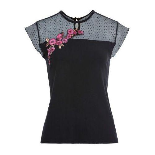 Długi shirt kreszowany, krótki rękaw bonprix jasnoróżowy w paski, w 4 rozmiarach