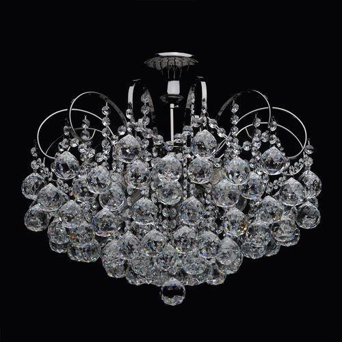Mw-light Srebrny bogato zdobiony żyrandol na sześć żarówek z okrągłymi kryształami