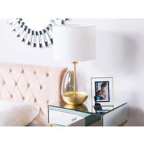 Beliani Lampa stołowa biała ze złotym okari