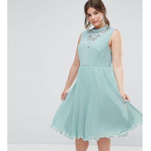 ASOS CURVE Sleeveless Lace Insert Midi Dress - Green, kolor zielony