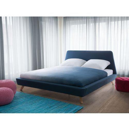 Łóżko granatowe - tapicerowane - ze stelażem - 180x200 cm - VIENNE