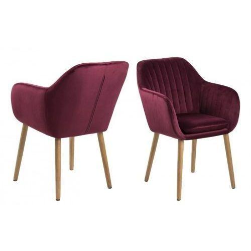 Krzesło Emilia Velvet bordowe, kolor czerwony