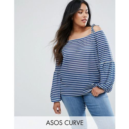 top in stripe with off shoulder and pretty bell sleeve - multi marki Asos curve