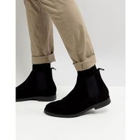 River island suede boots in black - black