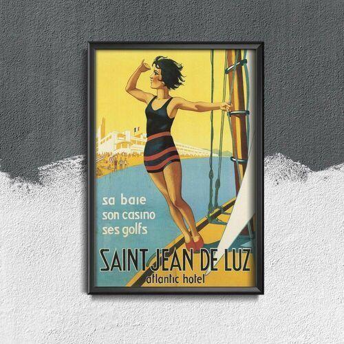 Plakat retro do salonu plakat retro do salonu saint jean de luz marki Vintageposteria.pl