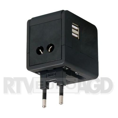 Omega power travel adaptor 4w1 usb otra3b (czarny)