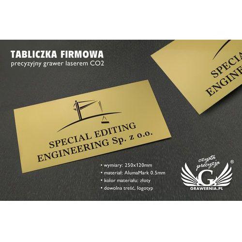 Tabliczka firmowa ze złotego aluminium - alumamark - wym. 250x120mm marki Grawernia.pl - grawerowanie i wycinanie laserem