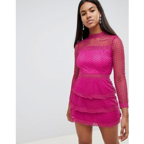 Ax paris long sleeve crochet lace mini dress with tiered skirt - pink