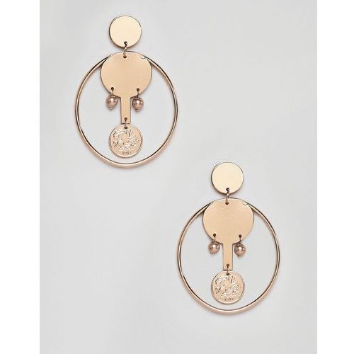 coin and hoop earrings in gold - gold marki Mango