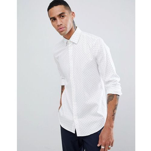 slim fit smart shirt with dot print - white marki Esprit