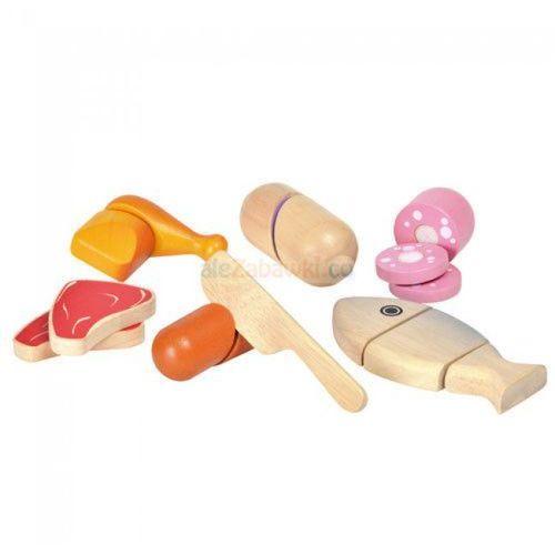 Drewniany zestaw - mięso do krojenia, , plto-3457 marki Plan toys