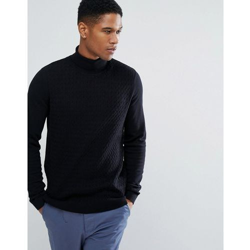 cable knit roll neck jumper - black, Threadbare
