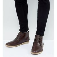 wide fit desert boots in brown leather with perforated detail - brown marki Asos