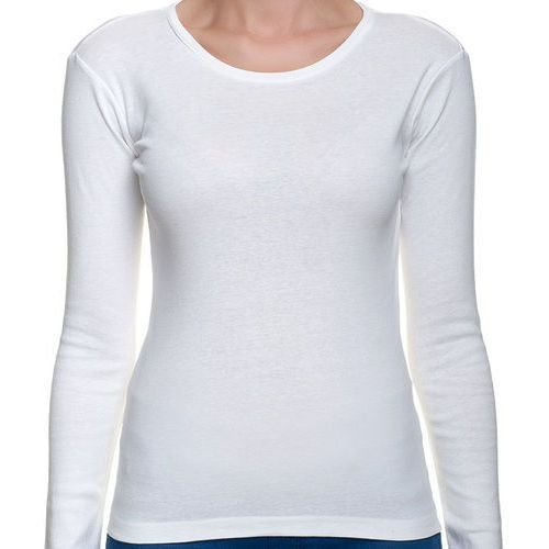 Koszulka damska koszulka z długim rękawem (bez nadruku, gładka) - biała marki Megakoszulki