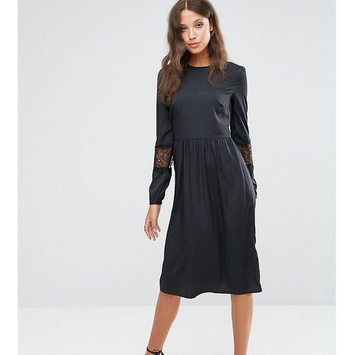 Asos tall  long sleeve midi dress with lace insert - black
