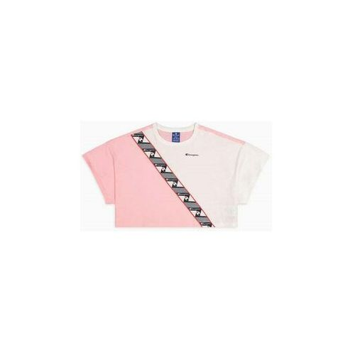 Tshirt - colour block jacquard logo tape cropped t-shirt (ps024) rozmiar: s, Champion
