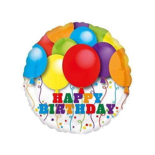 Balon foliowy Happy Birthday z balonikami - 43 cm - 1 szt.