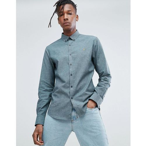 Farah steen slim fit brushed oxford weave shirt in green - green