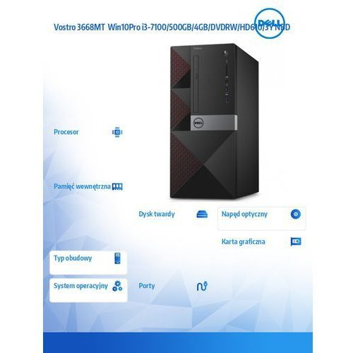 Dell Vostro 3668MT Win10Pro G4560/500GB/4GB/DVDRW/HD610/3Y NBD - DARMOWA DOSTAWA!!!