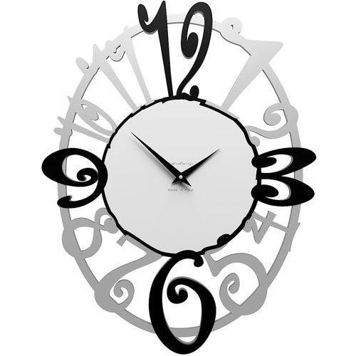 Calleadesign Owalny zegar ścienny michelle aluminium / czarny / biały (10-129-5)