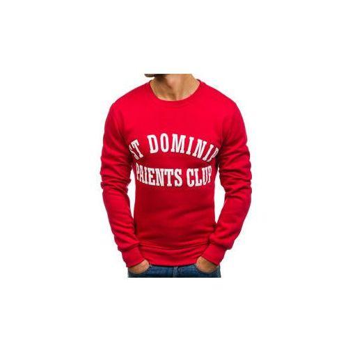 Bluza męska bez kaptura z nadrukiem czerwona denley j50 marki J.style