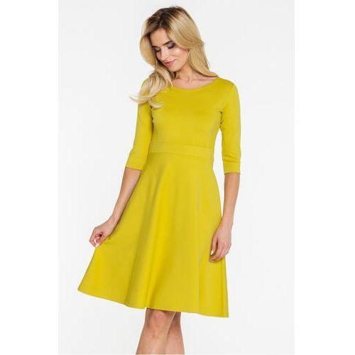 Żółto-zielona, dopasowana sukienka - marki Ryba