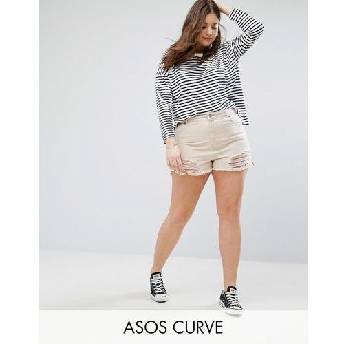 denim side split shorts in nude pink with shredded rips - pink marki Asos curve