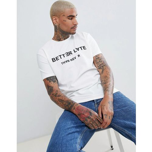 t-shirt with better late than never print in white - white, Bershka, S-XL