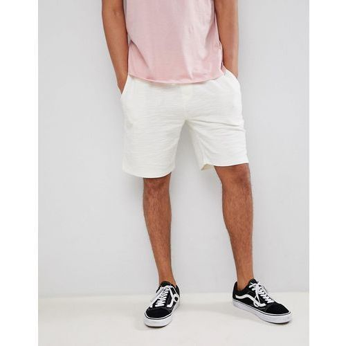 slim fit jersey shorts in ribbed texture in cream - cream, River island