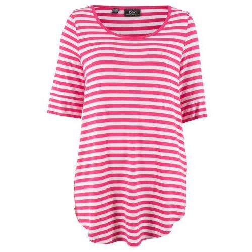 Shirt, rękawy 3/4 bonprix beżowo-szary z nadrukiem