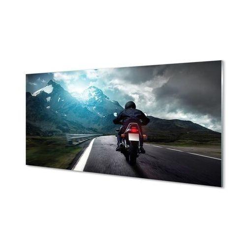Tulup.pl Obrazy akrylowe motocykl góry droga człowiek niebo