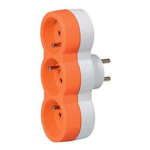 Rozgałęźnik Legrand 3 x 2 P+Z poziomy biało-pomarańczowy