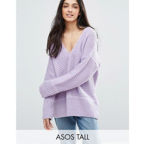 Asos tall  chunky jumper in fluffy yarn with v neck - purple