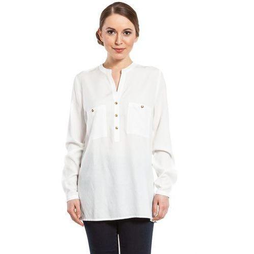 Bluzka biała złote guziki - Duet Woman, kolor biały