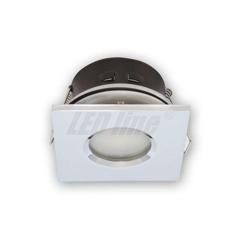 Oprawka halogenowa sufitowa wodoodporna, kwadratowa, stała, odlew - biały matowy marki Led line
