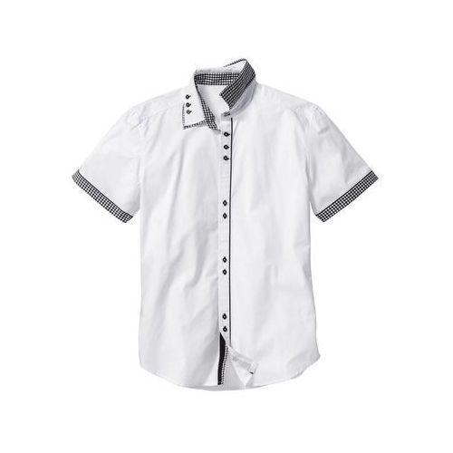 Koszula z krótkim rękawem slim fit biały marki Bonprix