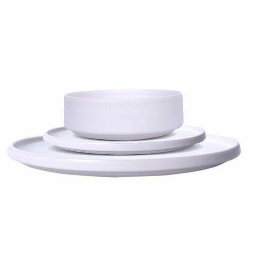 12-częściowy serwis obiadowy ISORA – fajansowy – kolor biały – błyszczące wykończenie