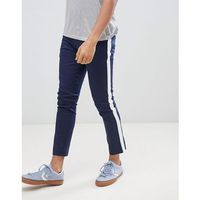tapered chinos with side panel detail in navy - navy marki Boohooman