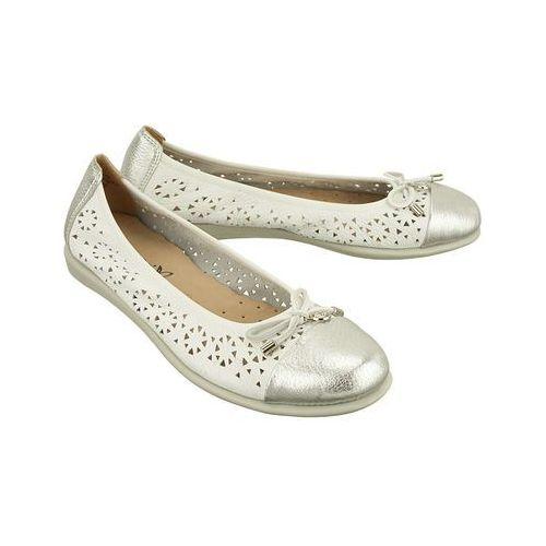 CAPRICE 22118-20 120 white/silver deer, baleriny, czółenka damskie - Biały, kolor biały